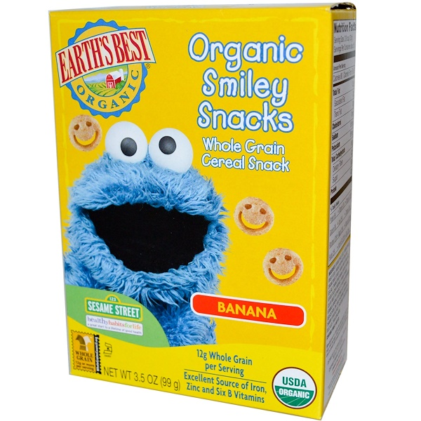 Earth's Best, Organic Smiley Snacks, Banana, 3.5 oz (99 g) (Discontinued Item)