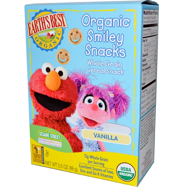 Earth's Best, Organic Smiley Snacks, Whole Grain Cereal, Vanilla, 3.5 oz (99 g) (Discontinued Item)
