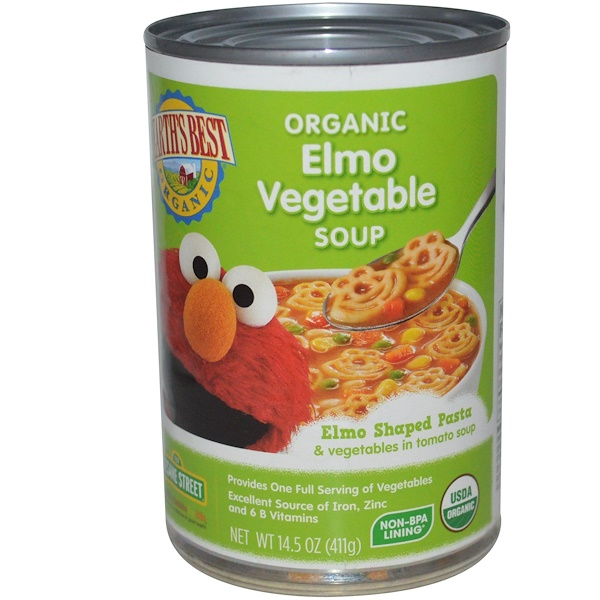 Earth's Best, Sesame Street, Organic Elmo Vegetable Soup, 14.5 oz (411 g) (Discontinued Item)