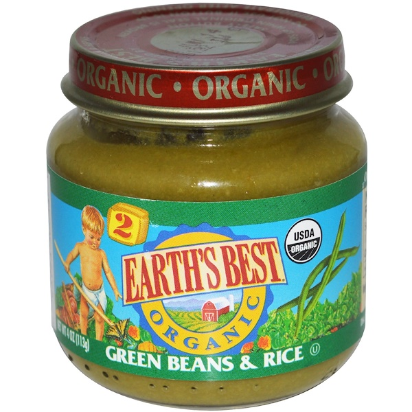 Earth's Best, Organic, Baby Food, Green Beans & Rice, 4 oz (113 g) (Discontinued Item)