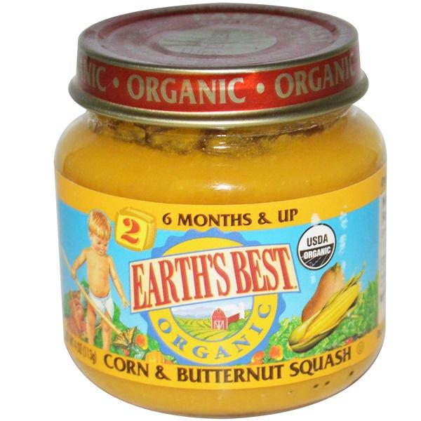 Earth's Best, Organic Baby Food, Corn & Butternut Squash, 4 oz (113 g) (Discontinued Item)