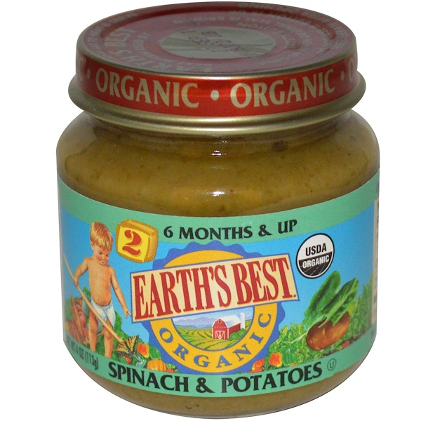 Earth's Best, Organic, Baby Food, Spinach & Potatoes, 4 oz (113 g) (Discontinued Item)