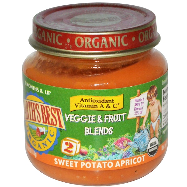 Earth's Best, Organic Baby Food, Veggie & Fruit Blends, Sweet Potato Apricot, 4.0 oz (113 g) (Discontinued Item)