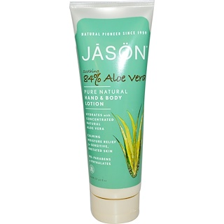 Jason Natural, Pure Natural Hand & Body Lotion, Soothing 84% Aloe Vera, 8 oz (227 g)