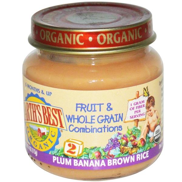 Earth's Best, Органическое детское питание, комбинация фруктов и цельные злаков, слива, банан и коричневый рис, 113 г (Discontinued Item)