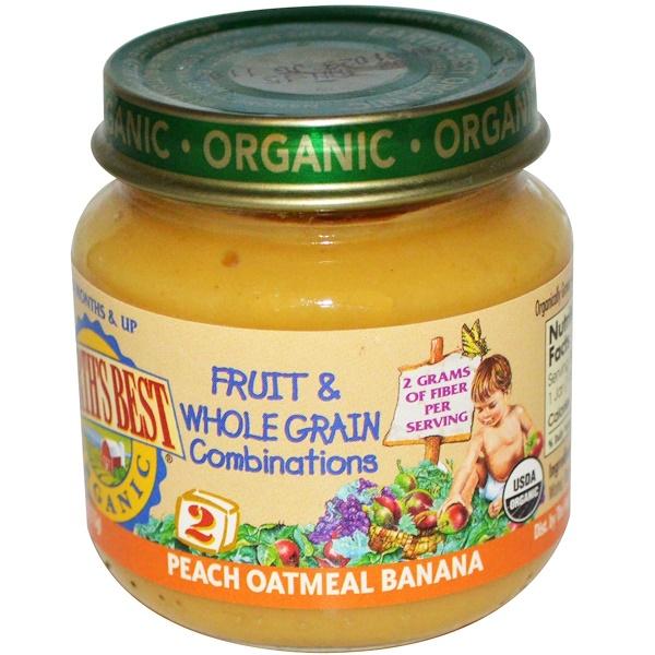 Earth's Best, Органический продукт, комбинация из фруктов и цельного зерна, персиковая овсянка с бананом, стадия 2, 6 месяцев и старше, 4 унции (113 г) (Discontinued Item)