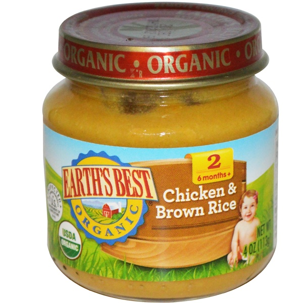 Earth's Best, Organic Baby Food, Chicken & Brown Rice, 4 oz (113 g) (Discontinued Item)
