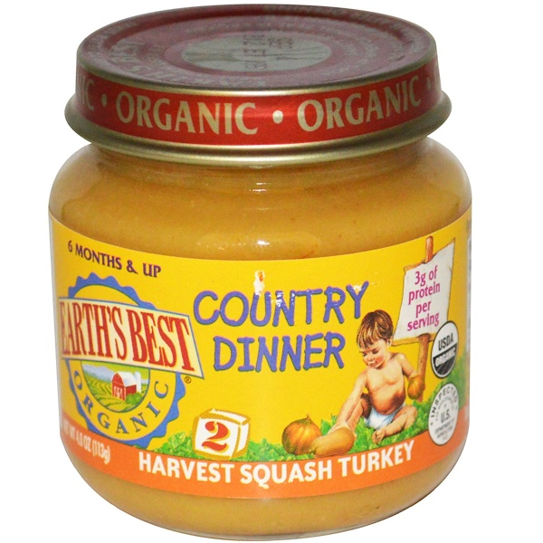 Earth's Best, Органическая, Country Dinner, индейка, 4.0 унции (113 г) (Discontinued Item)