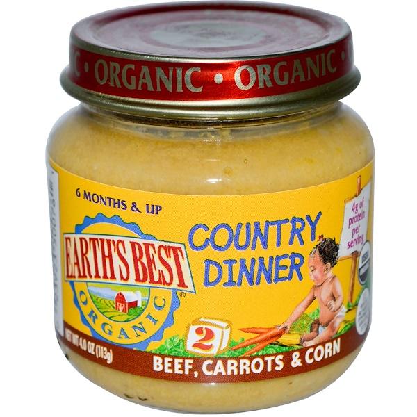 Earth's Best, питание для детей от 6 месяцев с говядиной, морковью и кукурузой, 4.0 унции (113 г) (Discontinued Item)