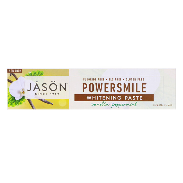 Jason Natural, PowerSmile، معجون أسنان مضاد للبقع ومُبيّض، نعناع فانيليا قوي، 6 أونصة (170 جم)