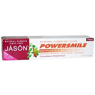 Jason Natural, Powersmile, Antiplaque & Whitening Toothpaste, Cinnamon PowerMint, 6 oz (170 g)