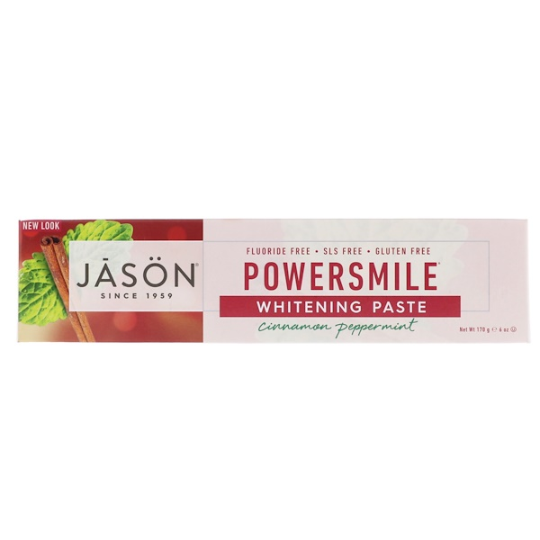 Jason Natural, Powersmile Whitening Paste, Cinnamon Peppermint, 6 oz (170 g) (Discontinued Item)