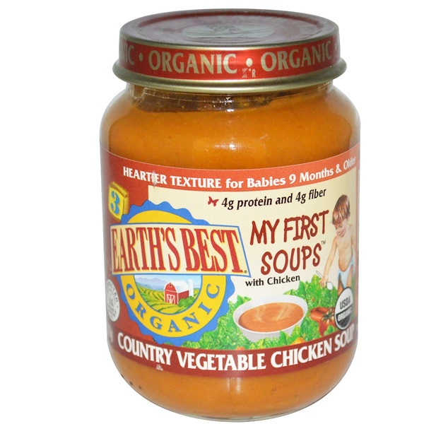 Earth's Best, Organic, Baby Food, My First Soups, Country Vegetable Chicken Soup, 6 oz (170 g) (Discontinued Item)