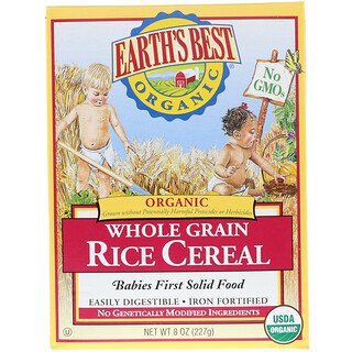 Earth's Best, ジェイソン, Organic Whole Grain Rice Cereal, 8 oz (227 g)