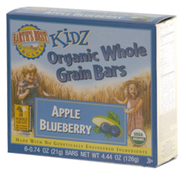 Earth's Best, Kidz Organic Whole Grain Bars, Apple Blueberry, 6 Bars, 0.74 oz (21 g) Each (Discontinued Item)
