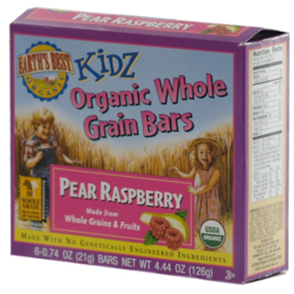 Earth's Best, Organic Whole Grain Bars, Pear Raspberry, 6 Bars, 0.74 oz (21 g) Each (Discontinued Item)