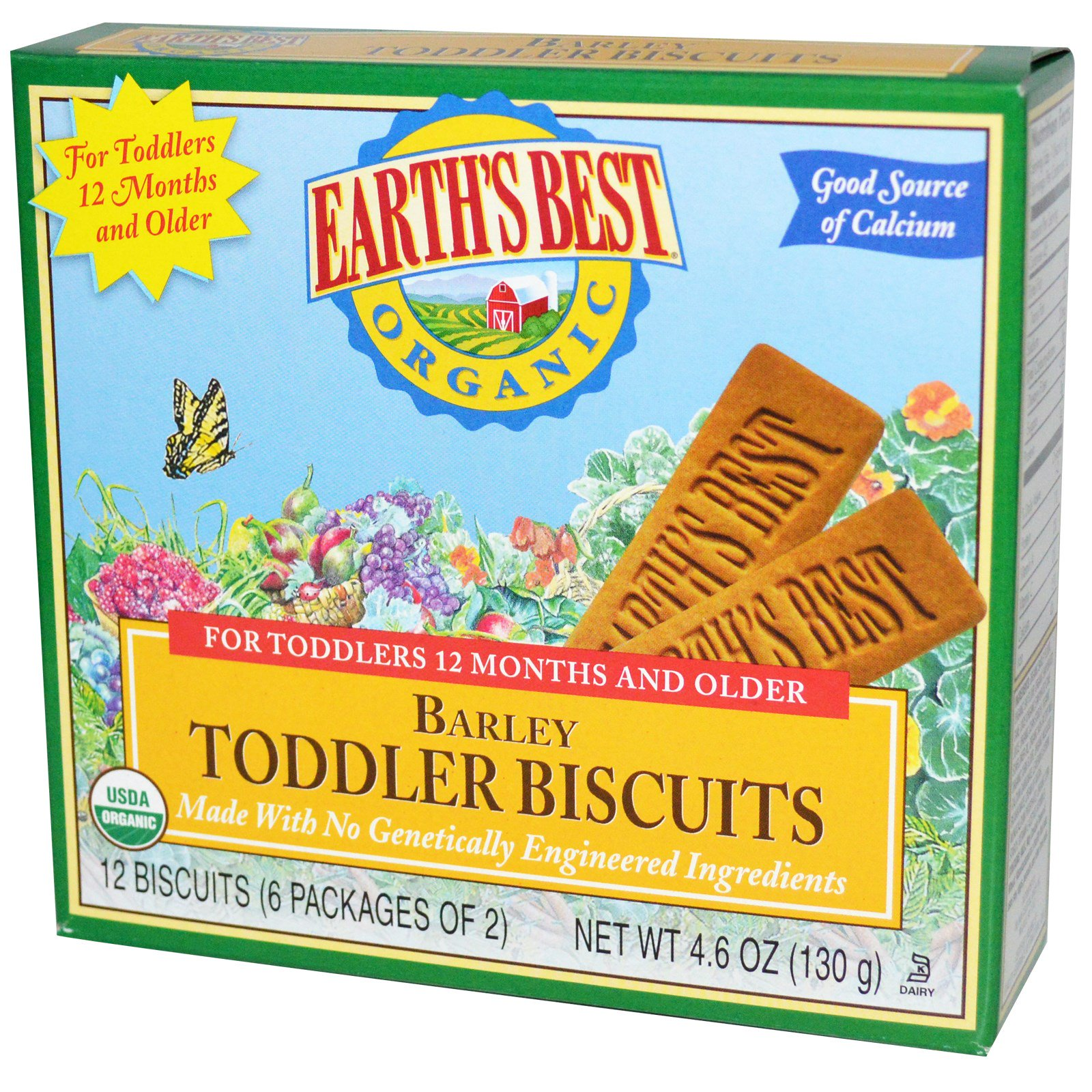 Earth's Best, Organic Toddler Biscuits, Barley, 12 Biscuits (6 Packages of 2)