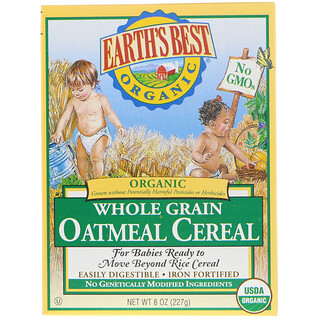Earth's Best, Cereal de Aveia Orgânica de grãos integrais, 8 oz (227 g)