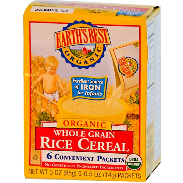Earth's Best, Whole Grain Rice Cereal, 6 Packets, 0.5 oz (14 g) Each (Discontinued Item)
