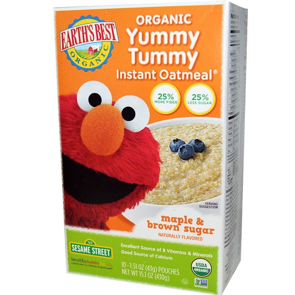 Earth's Best, Organic Yummy Tummy Instant Oatmeal, Maple & Brown Sugar, 10 Pouches, 1.51 oz (43 g) Each (Discontinued Item)