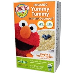 Ёртс Бест, Organic Yummy Tummy Instant Oatmeal, Maple & Brown Sugar, 10 Pouches, 1.51 oz (43 g) Each отзывы