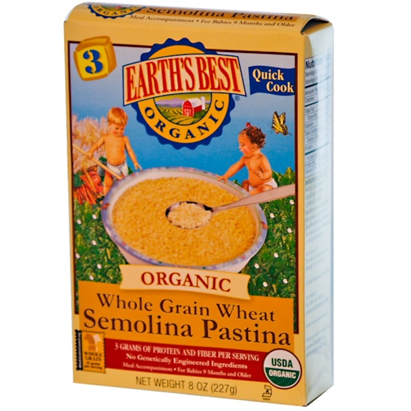 Earth's Best, Whole Grain Wheat Semolina Pastina, Baby Food, 8 oz (227 g) (Discontinued Item)