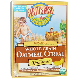 Earth's Best, ジェイソン, Organic Whole Grain Oatmeal Cereal with Bananas, 8 oz (227 g)