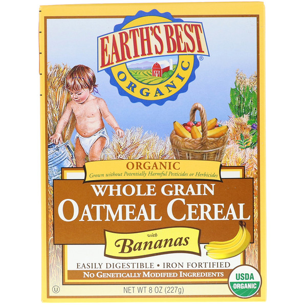Earth's Best, Organic Whole Grain Oatmeal Cereal with Bananas, 8 oz (227 g) (Discontinued Item)