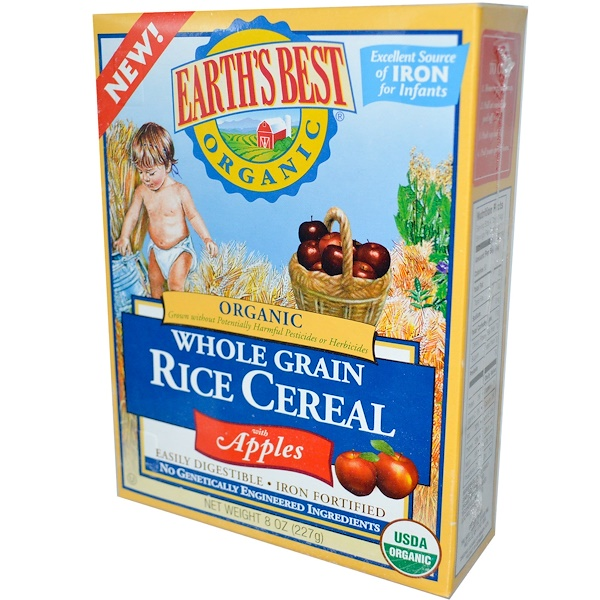 Earth's Best, Whole Grain Rice Cereal with Apples, 8 oz (227 g) (Discontinued Item)