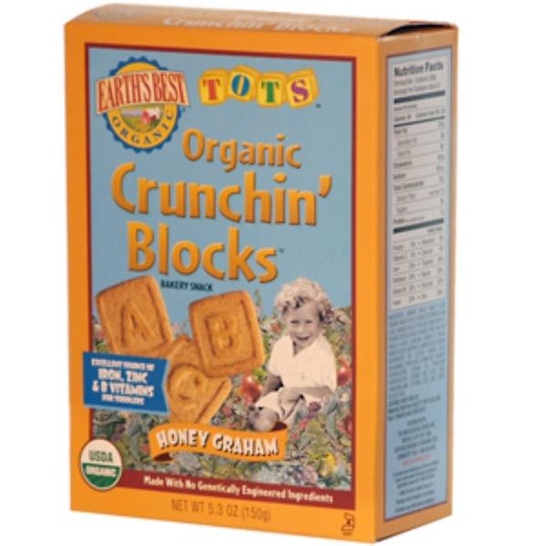 Earth's Best, Tots, Organic Crunchin' Blocks, Honey Graham, 5.3 oz (150 g) (Discontinued Item)