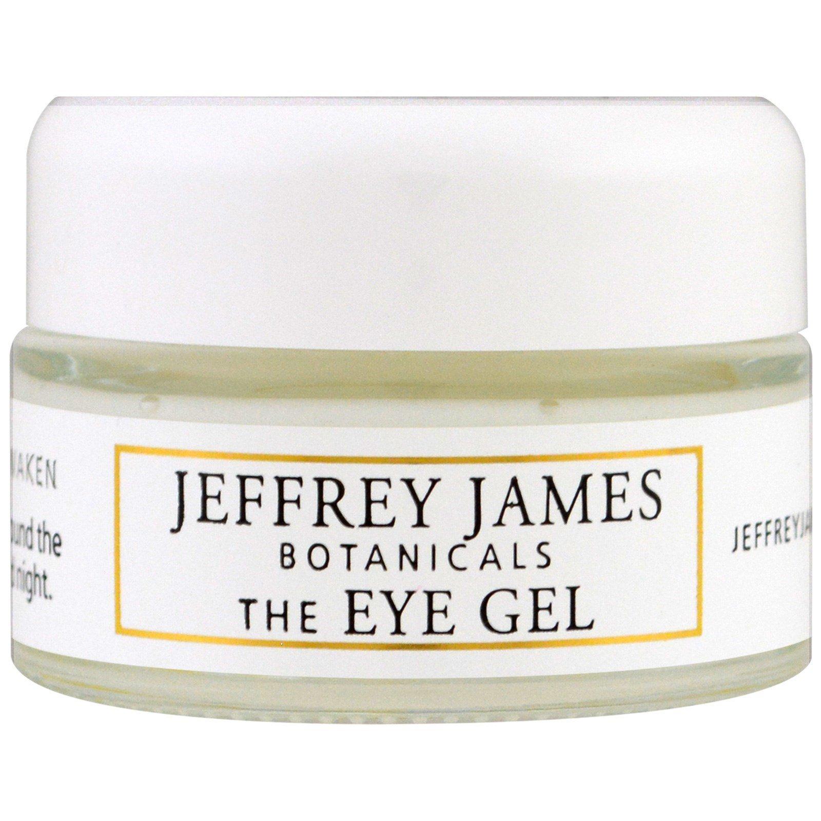 Jeffrey James Botanicals, Гель для кожи вокруг глаз, Успокаивает, обновляет, пробуждает, 0,5 унции (15 мл)