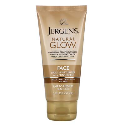 Купить Jergens Увлажняющее средство Natural Glow для ежедневного ухода за лицом, SPF 20, оттенок Fair to Medium, 59мл