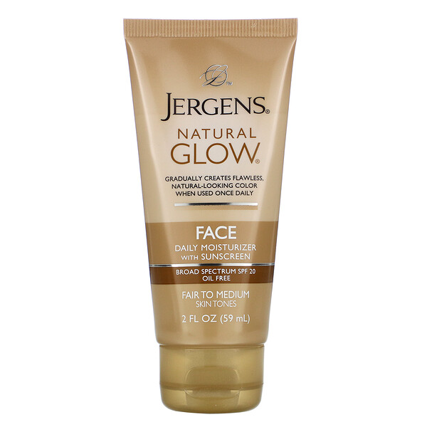 Jergens, Natural Glow, Face Daily Moisturizer, SPF 20, Fair to Medium, 2 fl oz (59 ml)