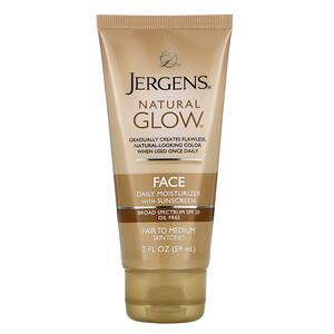 Jergens, Natural Glow, Face Daily Moisturizer, SPF 20, Fair to Medium, 2 fl oz (59 ml) отзывы