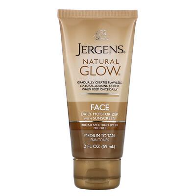 Купить Jergens Увлажняющий лосьон Natural Glow для ежедневного ухода за лицом, SPF20, для средних и темных тонов кожи, 59мл