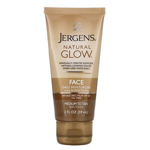 Jergens, Natural Glow, Face Daily Moisturizer, SPF 20, Medium to Tan, 2 fl oz (59 ml) отзывы