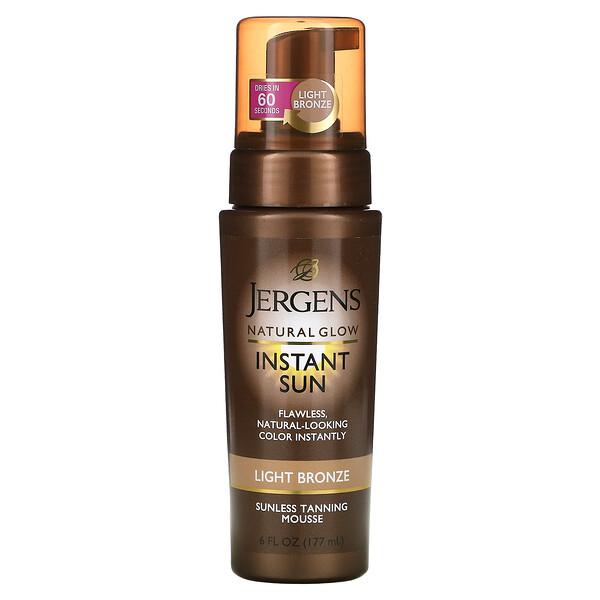 Jergens, Natural Glow, Instant Sun, Mousse autobronceante, Bronce ligero, 177ml (6oz.líq.)