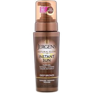 Jergens, Natural Glow, Instant Sun, Sunless Tanning Mousse, Deep Bronze, 6 fl oz (177 ml) отзывы покупателей