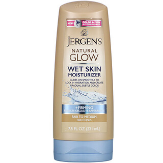 Jergens, Natural Glow, 웻 스킨 모이스처라이저, 퍼밍, 흰 피부부터 중간 톤 피부까지, 7.5fl oz(221ml)