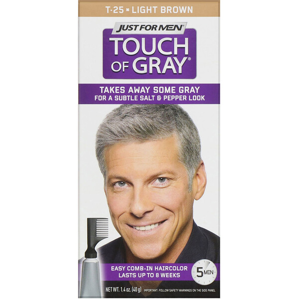 Touch of Gray, Comb-In Hair Color, Light Brown T-25, 1.4 oz (40 g)