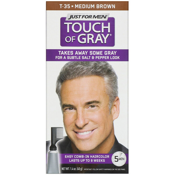 Touch of Gray, Comb-in Hair Color, Medium Brown T-35, 1.4 oz (40 g)