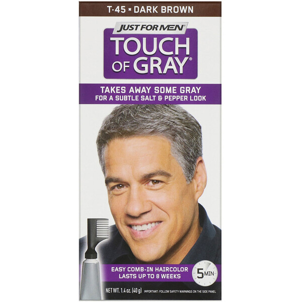 Just for Men, Touch of Gray, Tintura de cabelo com pente, Dark Brown T-45, 40 g (Discontinued Item)