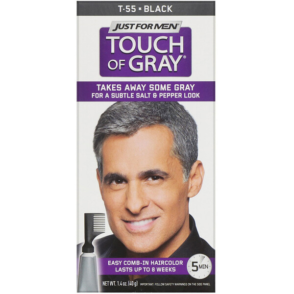 Just for Men, Touch of Gray, Comb-In Hair Color, Black T-55, 1.4 oz (40 g)