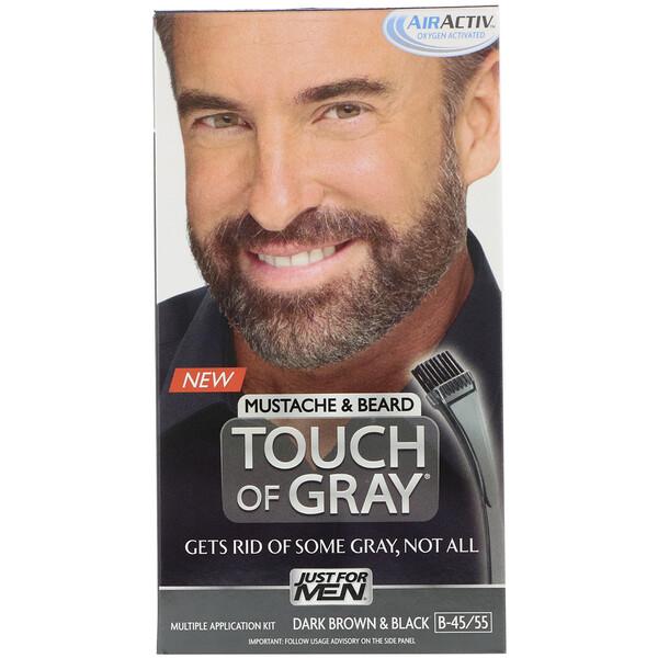 Touch of Gray, Mustache & Beard, Dark Brown & Black B-45/55, 1 Multiple Application Kit