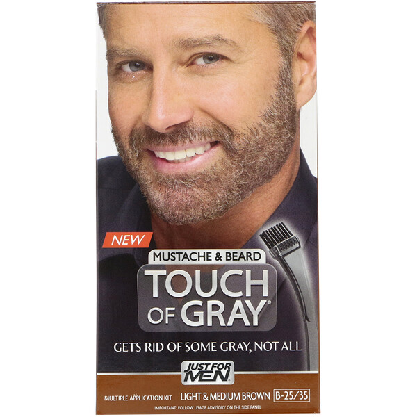 Just for Men, Touch of Gray, Mustache & Beard, Light & Medium Brown B-25/35, 1 Multiple Application Kit (Discontinued Item)