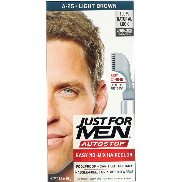 צבע שיער לגבר Autostop, חום בהיר A-25, מכיל 35 גרם (1.2 אונקיות)