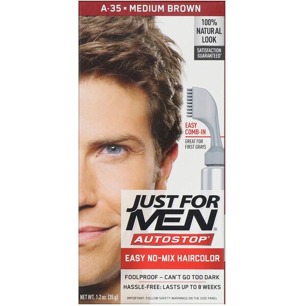 Tintura para cabelo masculino Autostop, Medium Brown A-35, 35 g