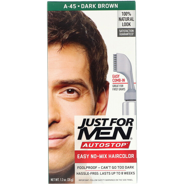 Autostop Men's Hair Color, Dark Brown A-45, 1.2 oz (35 g)