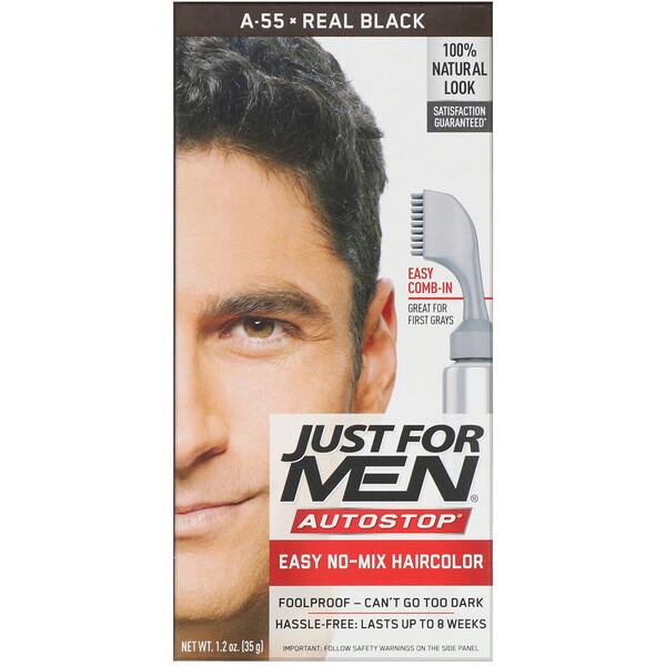Autostop Men's Hair Color, Real Black A-55, 1.2 oz (35 g)