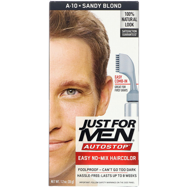 Just for Men, Autostop, Colorante para el cabello masculino, Rubio arenoso A-10, 35 g (1,2 oz)